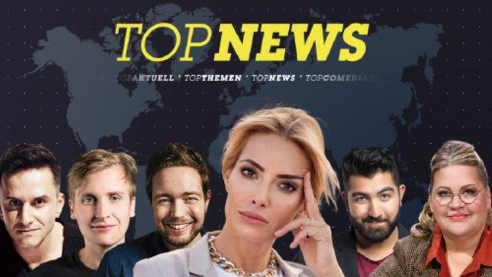 "V.l.: Özcan Coşar, Till Reiners, Bastian Bielendorfer, Moderatorin Sarah Valentina Winkaus, Faisal Kawusi und Ilka Bessin sind bei ""RTL Topnews"" am Start."