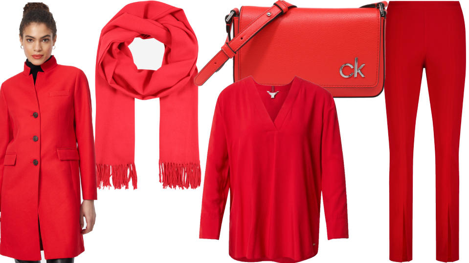 "Kleidung in der Pantone-Farbe ""Illuminating Red"""