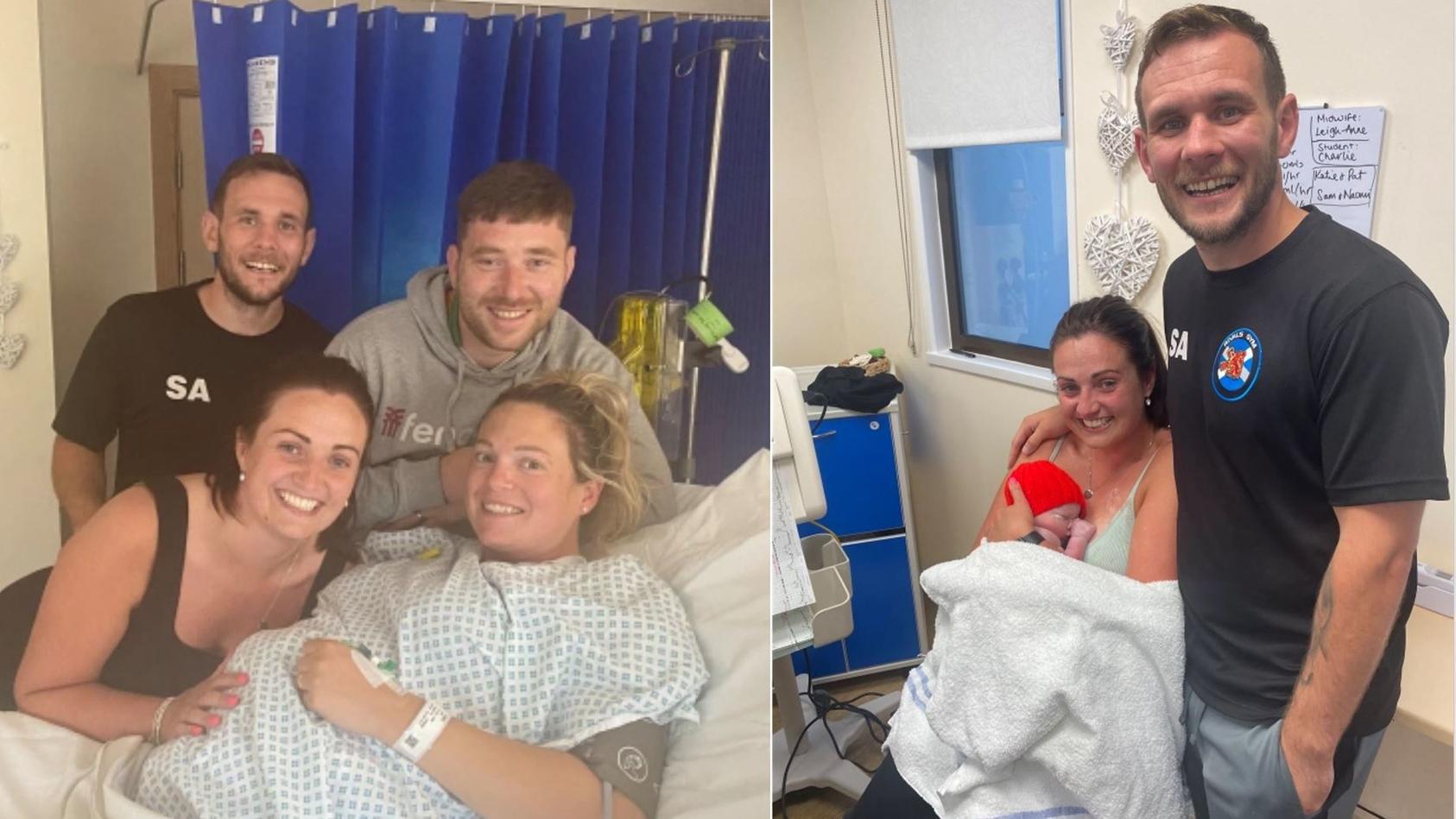 Niomi Allan und ihr Mann stehen Leihmutter Katie während der Geburt bei