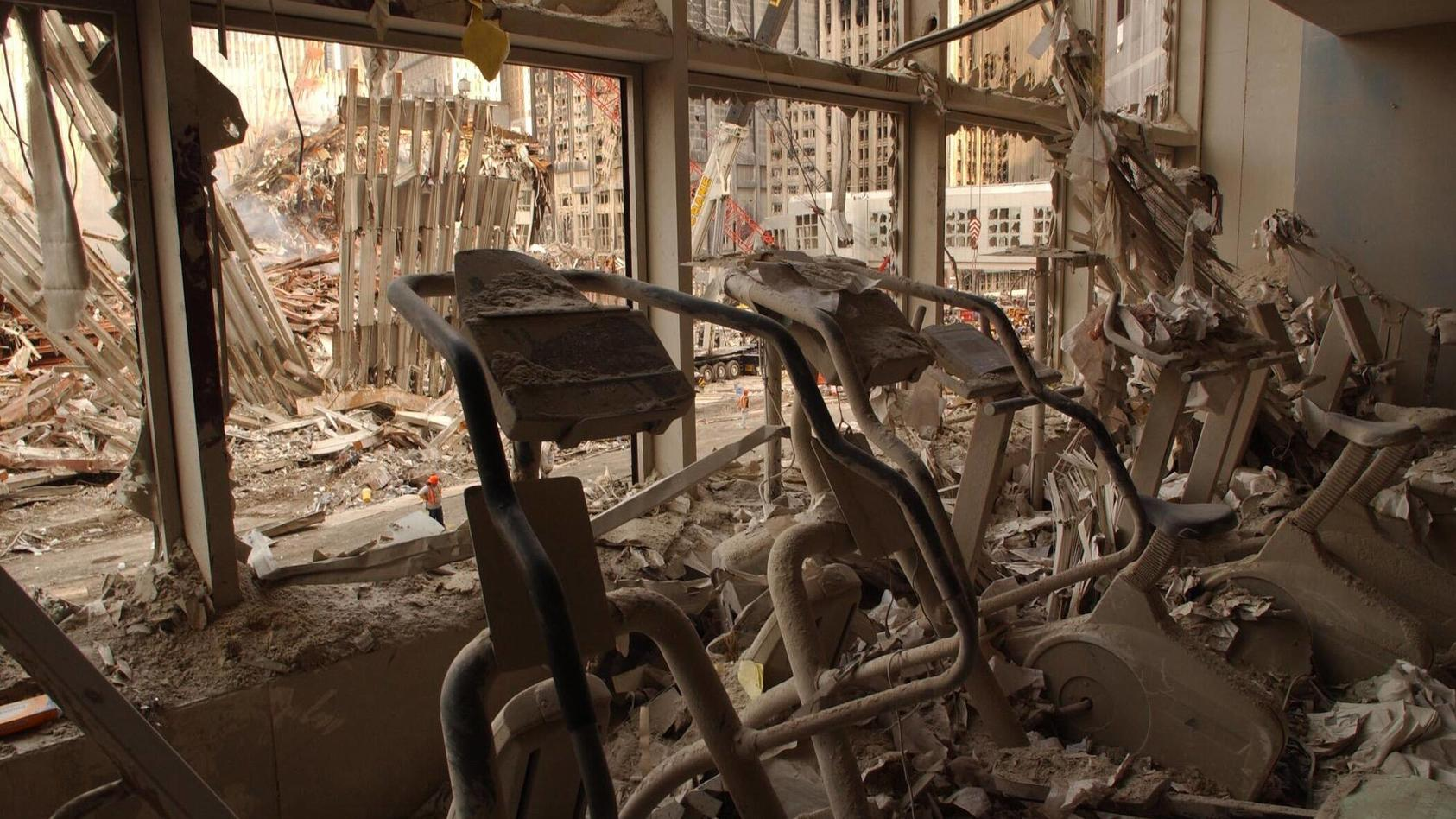 A health club in World Financial Center 2 after the 9-11 attacks, Sept. 18, 2001. It was across the West Side Highway fr
