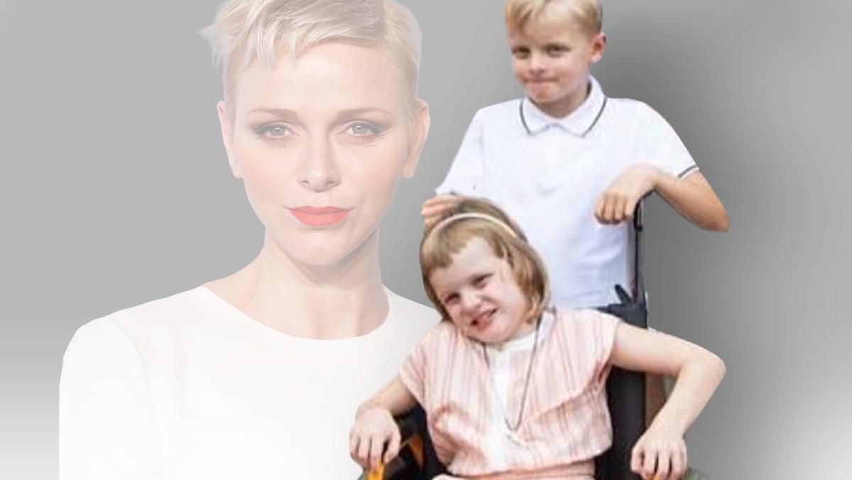 Charlène von Monaco mit ihren beiden Kindern. Aktuell sitzt Töchterchen Gabriella im Rollstuhl.