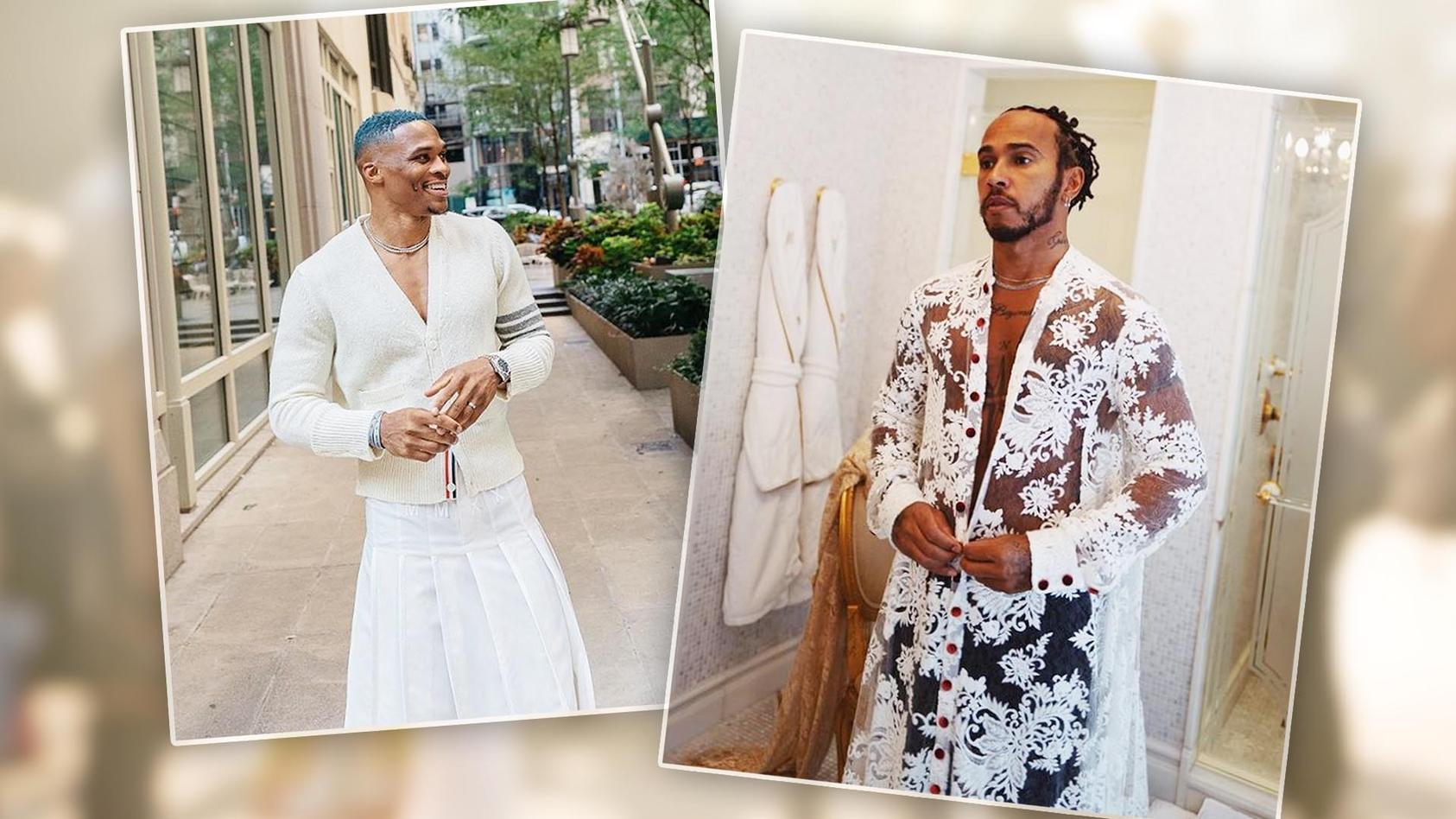 Russell Westbrook und Lewis Hamilton bei der New York Fashion Week 2021.