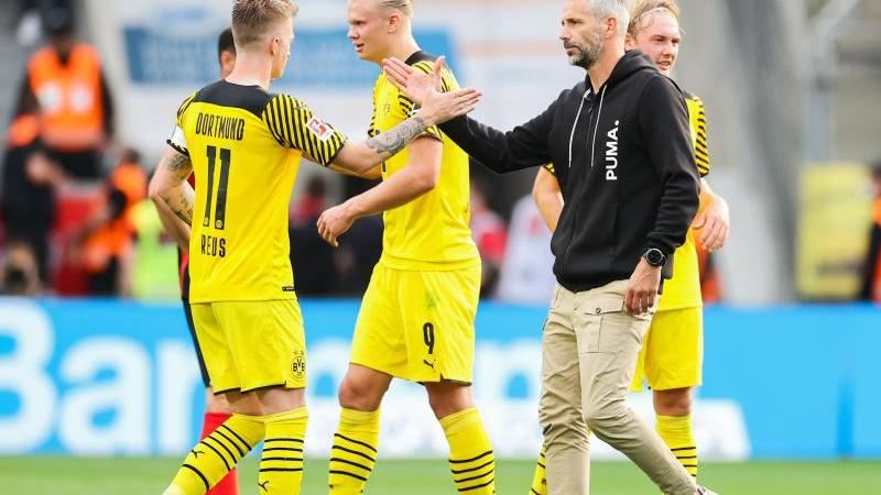 Dortmunds Erling Haaland (3.v.l), Marco Reus (2.v.l) und Trainer Marco Rose (2.v.r) klatschen sich ab. Foto: Rolf Vennenbernd/dpa