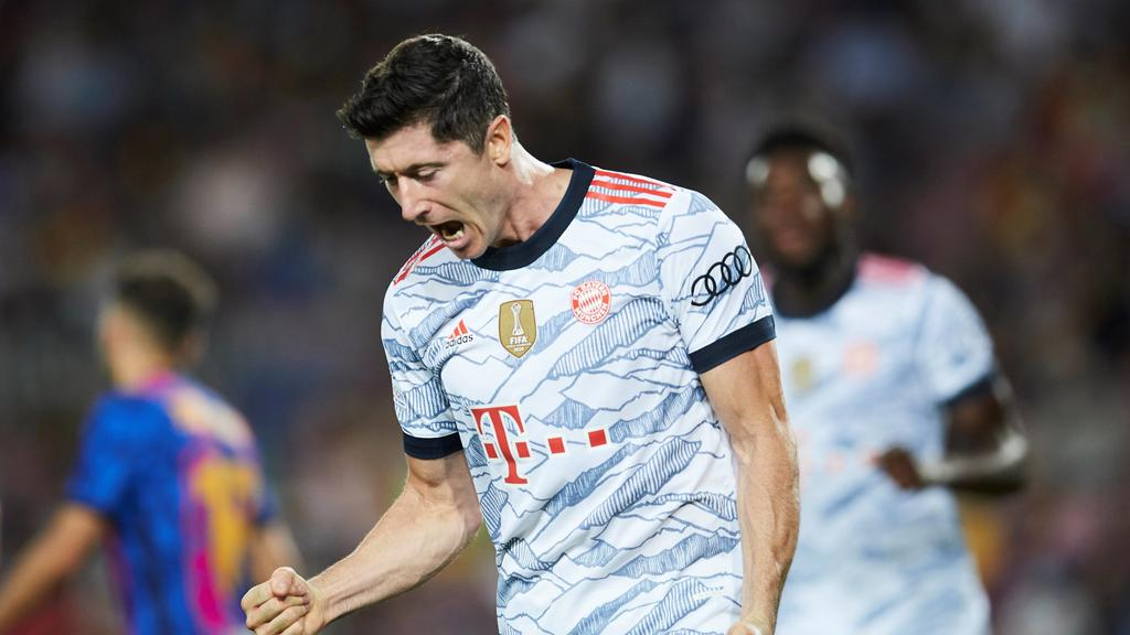 Bayern Munich s Robert Lewandowski celebrates after scoring the 0-2 lead during the UEFA Champions League Group E soccer match between FC Barcelona, Barca and Bayern Munich held at Camp Nou stadium, in Barcelona, Spain, 14 September 2021. FC Barcelo