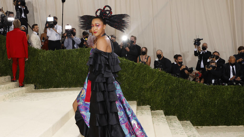 Naomi Osaka arrives on the red carpet for The Met Gala at The Metropolitan Museum of Art celebrating the opening of In America: A Lexicon of Fashion in New York City on Monday, September 13, 2021. PUBLICATIONxINxGERxSUIxAUTxHUNxONLY NYP20210913327 J