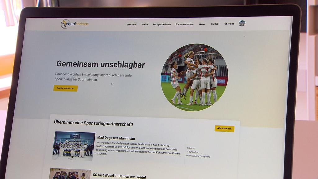 Auf der Seite können sich Unternehmen und Sportlerinnen oder Mannschaften registrieren.