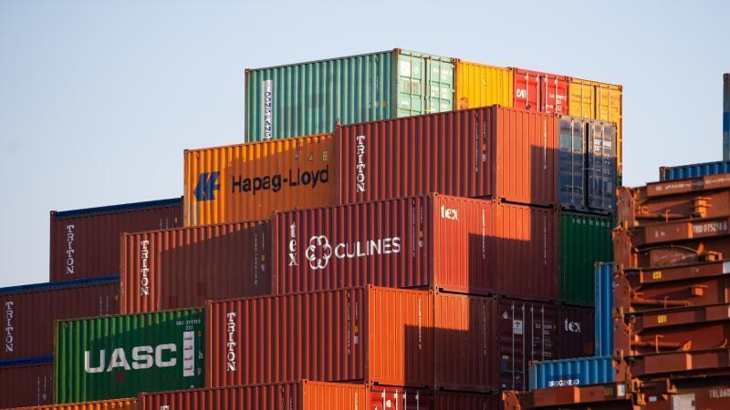 Dutzende Frachtcontainer stehen aufgestapelt in einem Hafen. Foto: Jonas Walzberg/dpa/Symbolbild