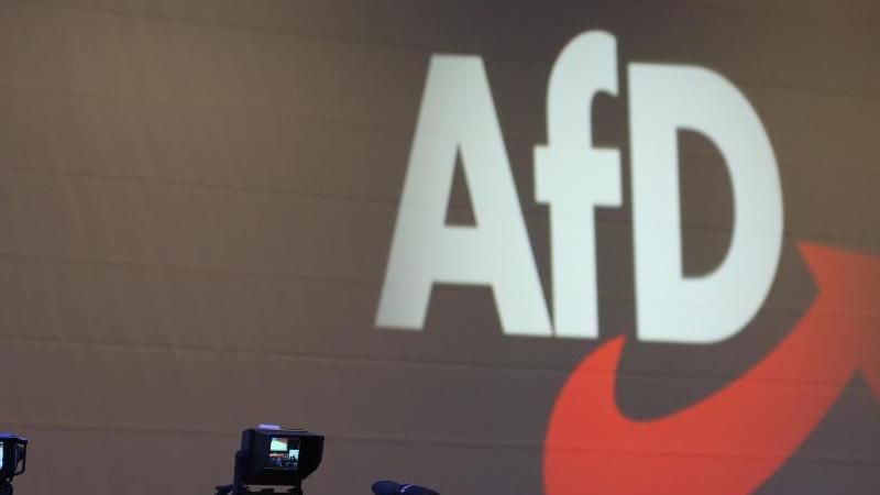 Kameras stehen vor dem Logo der AfD. Foto: Karl-Josef Hildenbrand/dpa