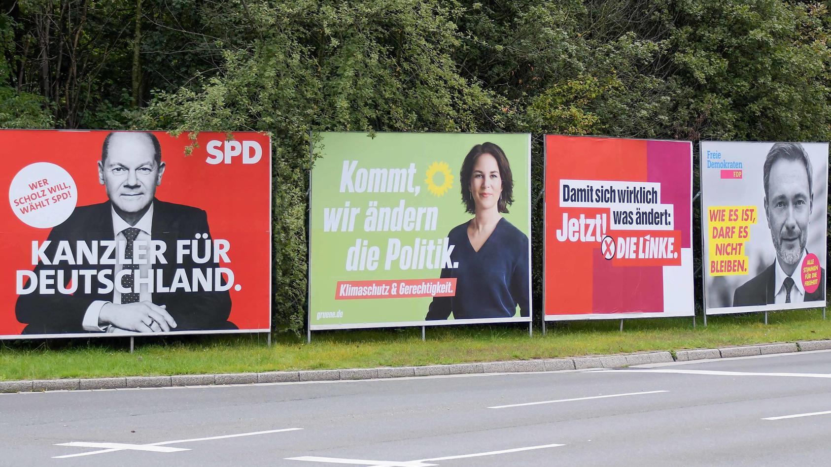 Wahlplakate zur Bundestagswahl 2021: Die Äußerungen versprechen lange Koalitionsverhandlungen