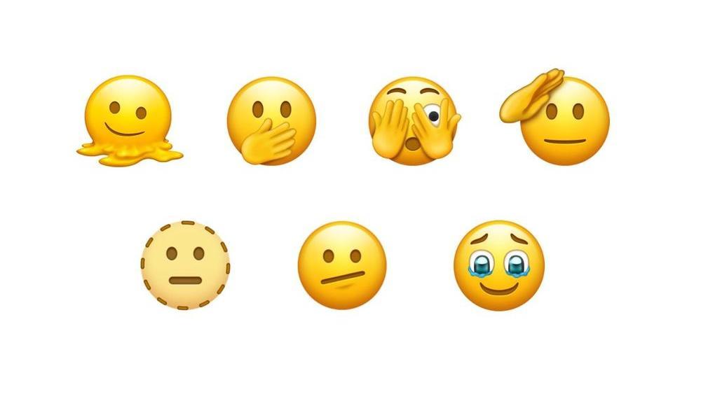 Verschiedene Emojis. Zum Beispiel eines, dass sich die Augen zu hält.