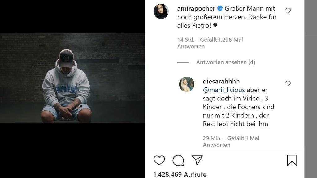 Amira Pochers Kommentar unter Pietros Video.