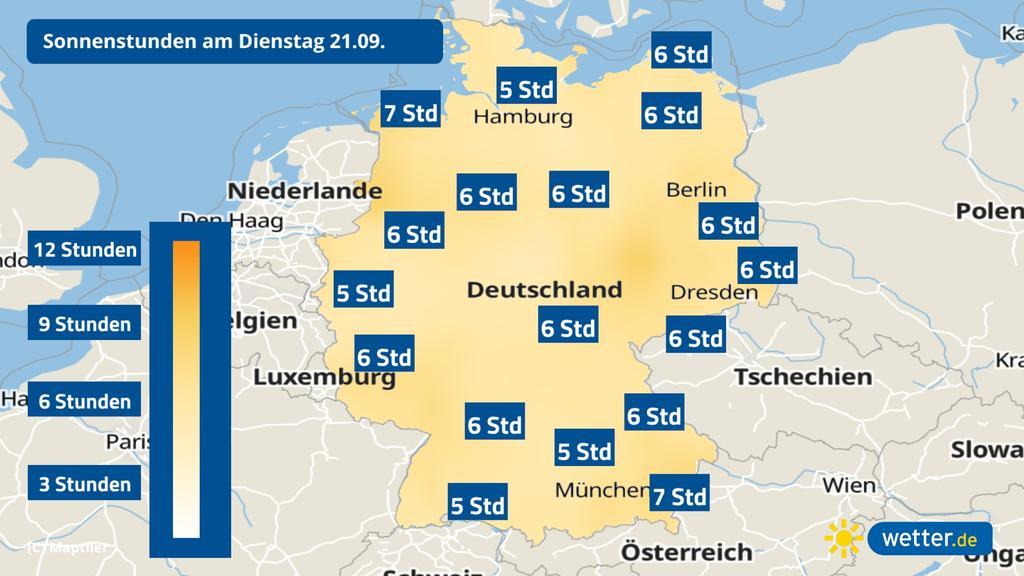 Wettervorhersage der Sonnenstunden für Deutschland