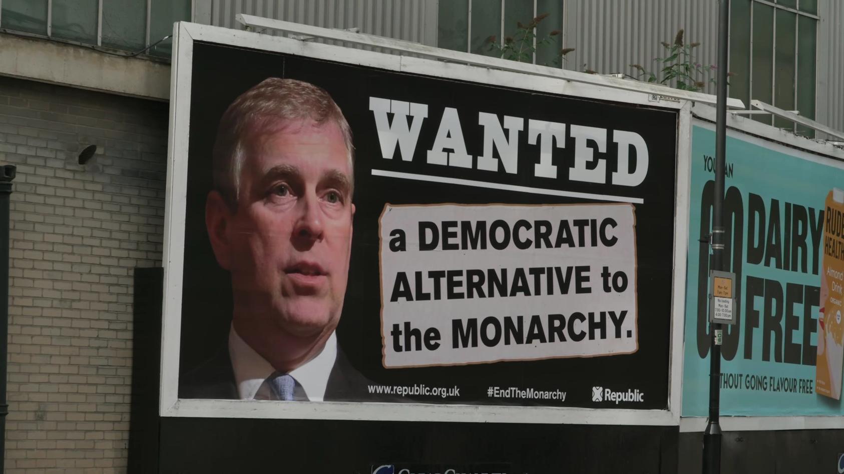 Prinz Andrew auf einem Plakat einer anti-monarchistischen Kampagne.