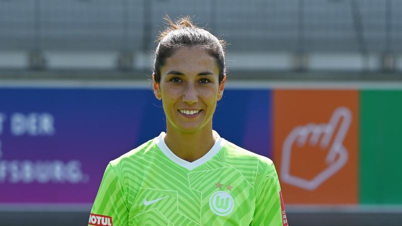Fußball-Spielerin Sara Doorsoun. Foto: Swen Pförtner/dpa/Archivbild