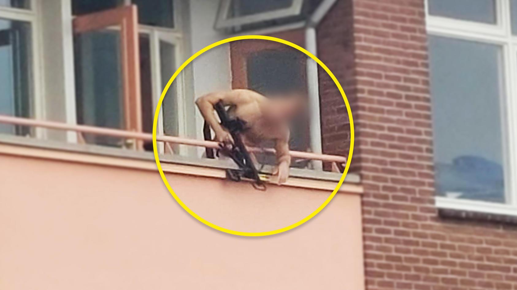 Mann schieß von Balkon aus auf mehrere Menschen.