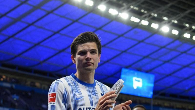 Jurgen Ekkelenkamp war der Matchwinner für die Berliner Hertha. Foto: Soeren Stache/dpa-Zentralbild/dpa