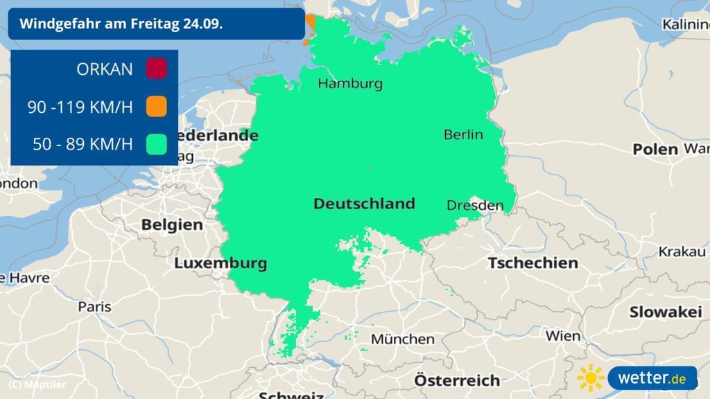 Prognose: Sturm und Wind für Freitag, 24.09.2021