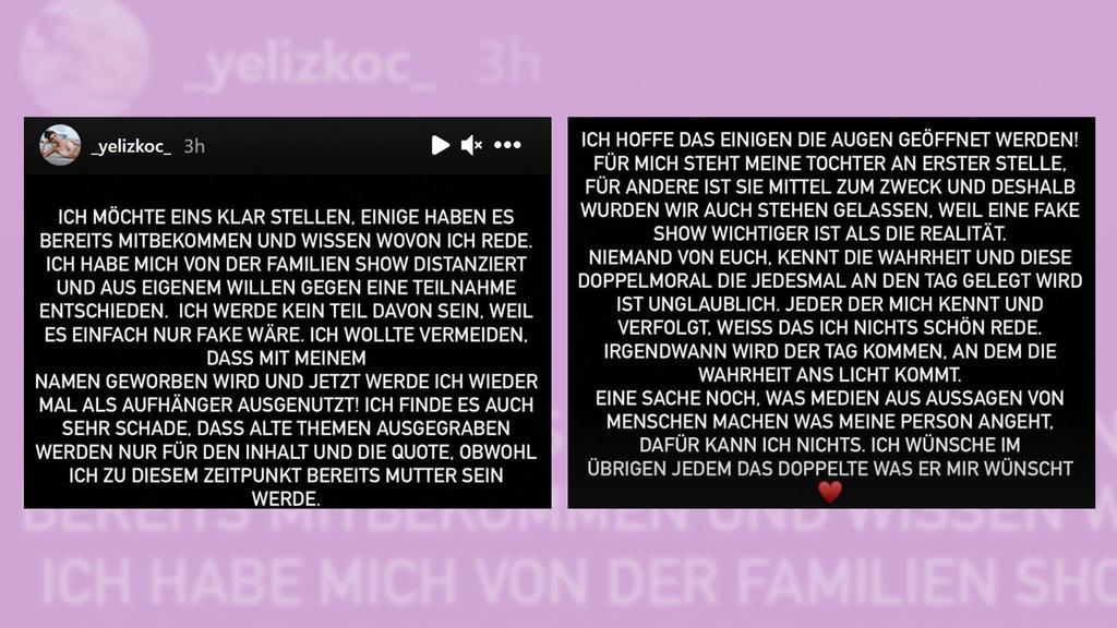 Yeliz Koc äußert sich bei Instagram zur Ochsenknecht-TV-Show