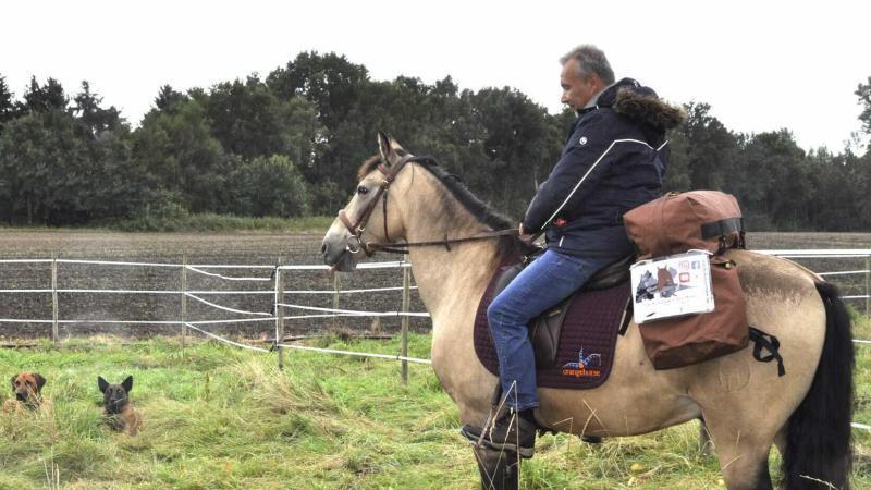 Das Bild zeigt den Nürnberger Jürgen Dirrigl auf seinem Pferd Peu auf einer Wiese beim Teamshooting
