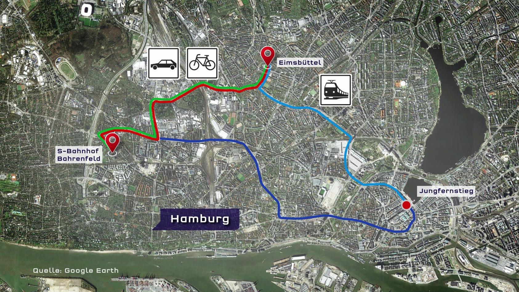 Die Routen von Eimsbüttel nach Bahrenfeld. Was geht am schnellsten?