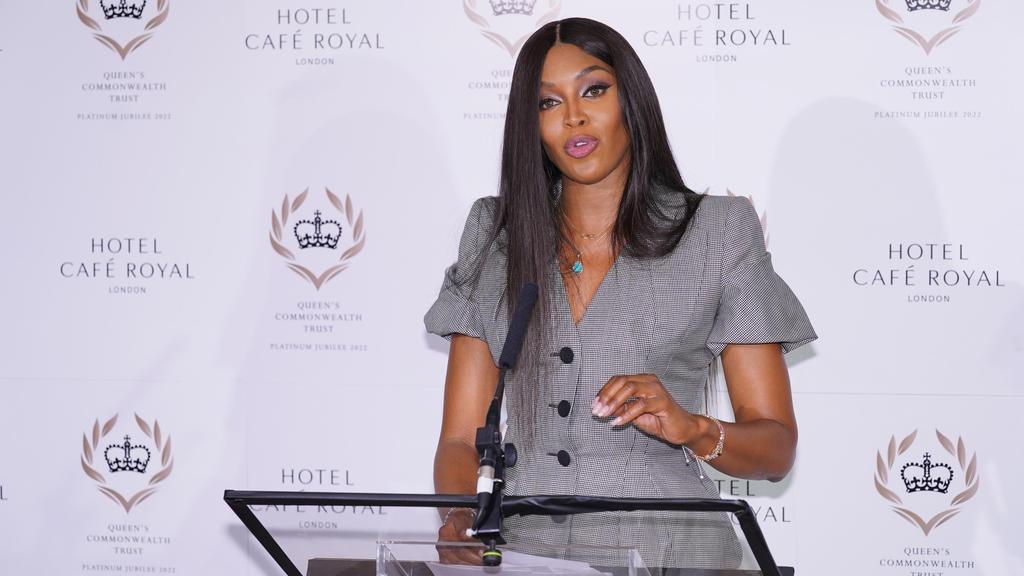 16.09.2021, Großbritannien, London: Naomi Campbell, Model aus Großbritannien, bei einer Pressekonferenz im Hotel Cafe Royal anlässlich der Ankündigung, dass sie globale Botschafterin für den Queen's Commonwealth Trust werden wird. Foto: Ian West/PA W