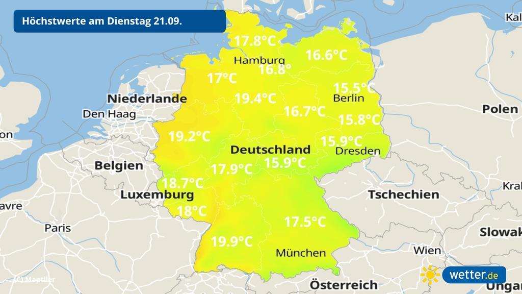 Kühle Temperaturen am Dienstag