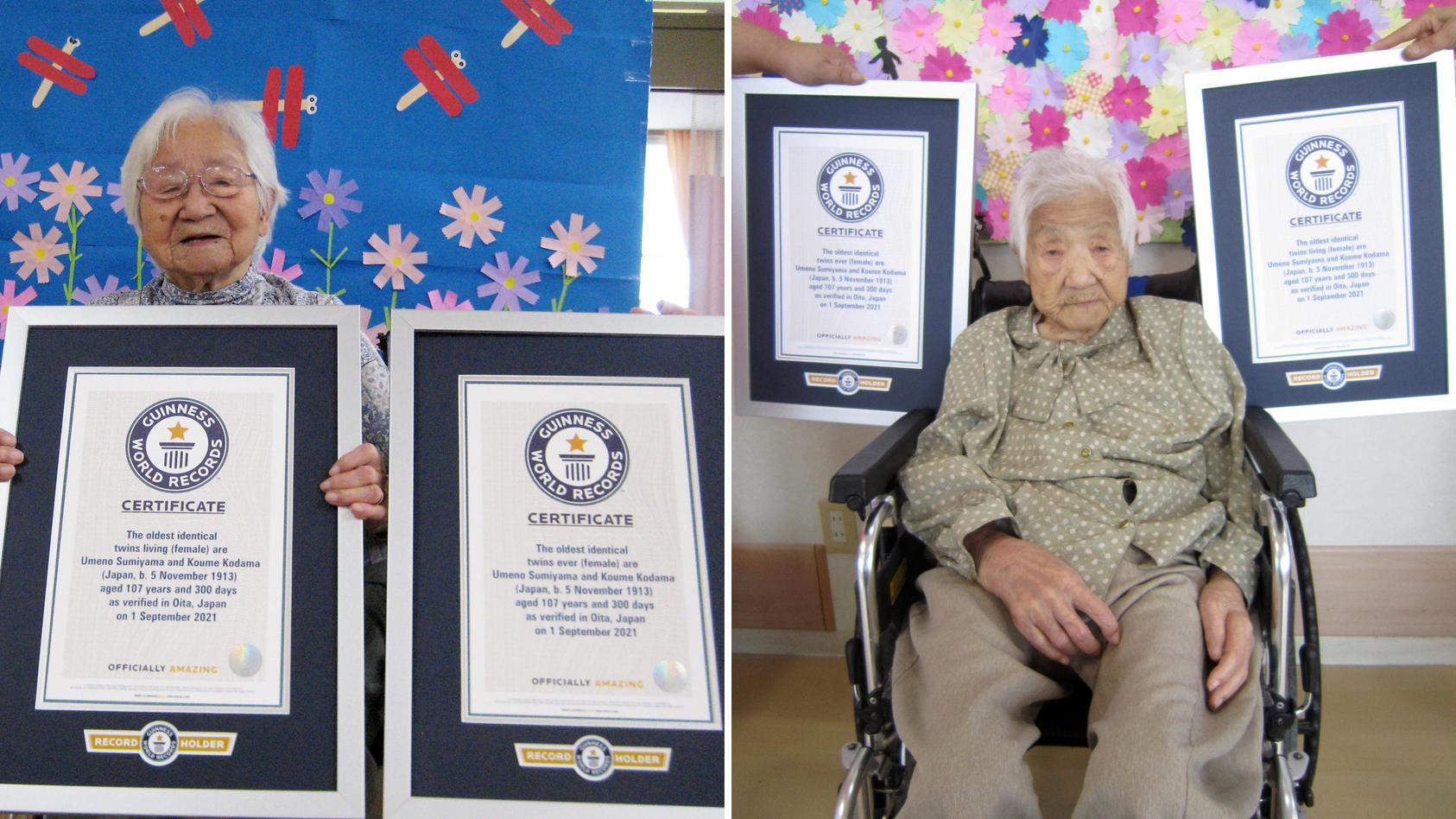 Die Zwillingsschwestern Umeno Sumiyama (links) und Koume Kodama (rechts) haben es in das Guinness-Buch der Rekorde geschafft.