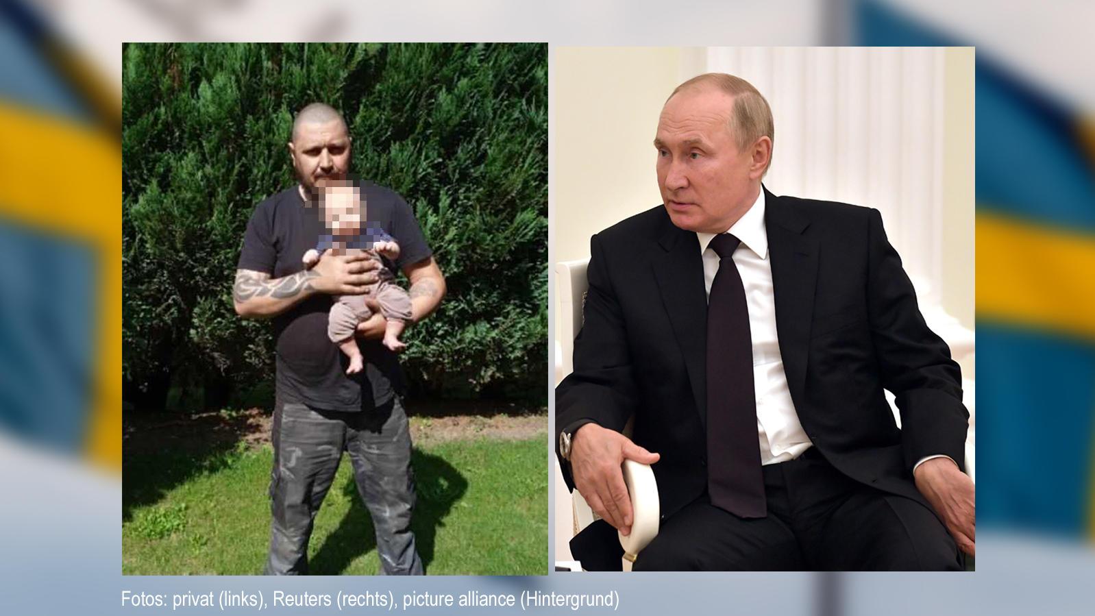 Vater Ronny (l.) mit seinem Baby - rechts der Mann, der ihn inspiriert: Wladimir Putin.