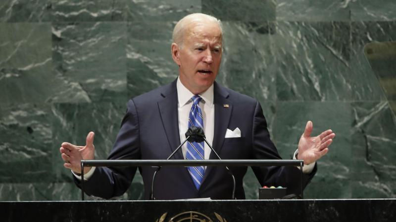 Joe Biden, Präsident der USA, spricht während der 76. Generaldebatte der UN-Vollversammlung. Foto: Eduardo Munoz/Pool Reuters/AP/dpa