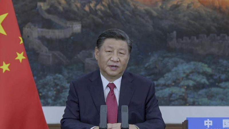 Xi Jinping, Präsident von China, spricht in einer aufgezeichneten Botschaft während der 76. Generaldebatte der UN-Vollversammlung der Vereinten Nationen in New York. Foto: Bebeto Matthews/UN Web TV/dpa
