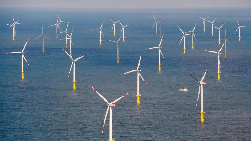 Ein Offshore-Windpark vor der Insel Sylt in der Nordsee. Foto: Daniel Reinhardt/dpa/Symbolbild