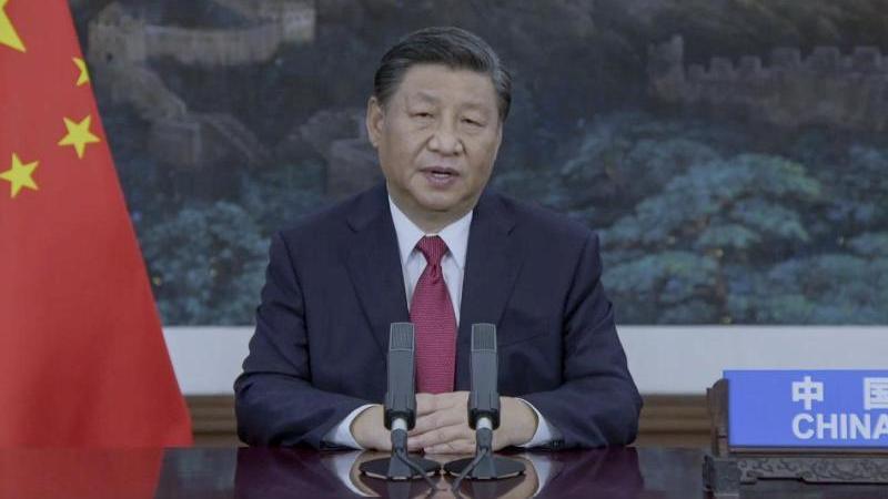 Xi Jinping, Präsident von China, spricht in einer aufgezeichneten Botschaft während der 76. Generaldebatte der UN-Vollversammlung der Vereinten Nationen in New York.