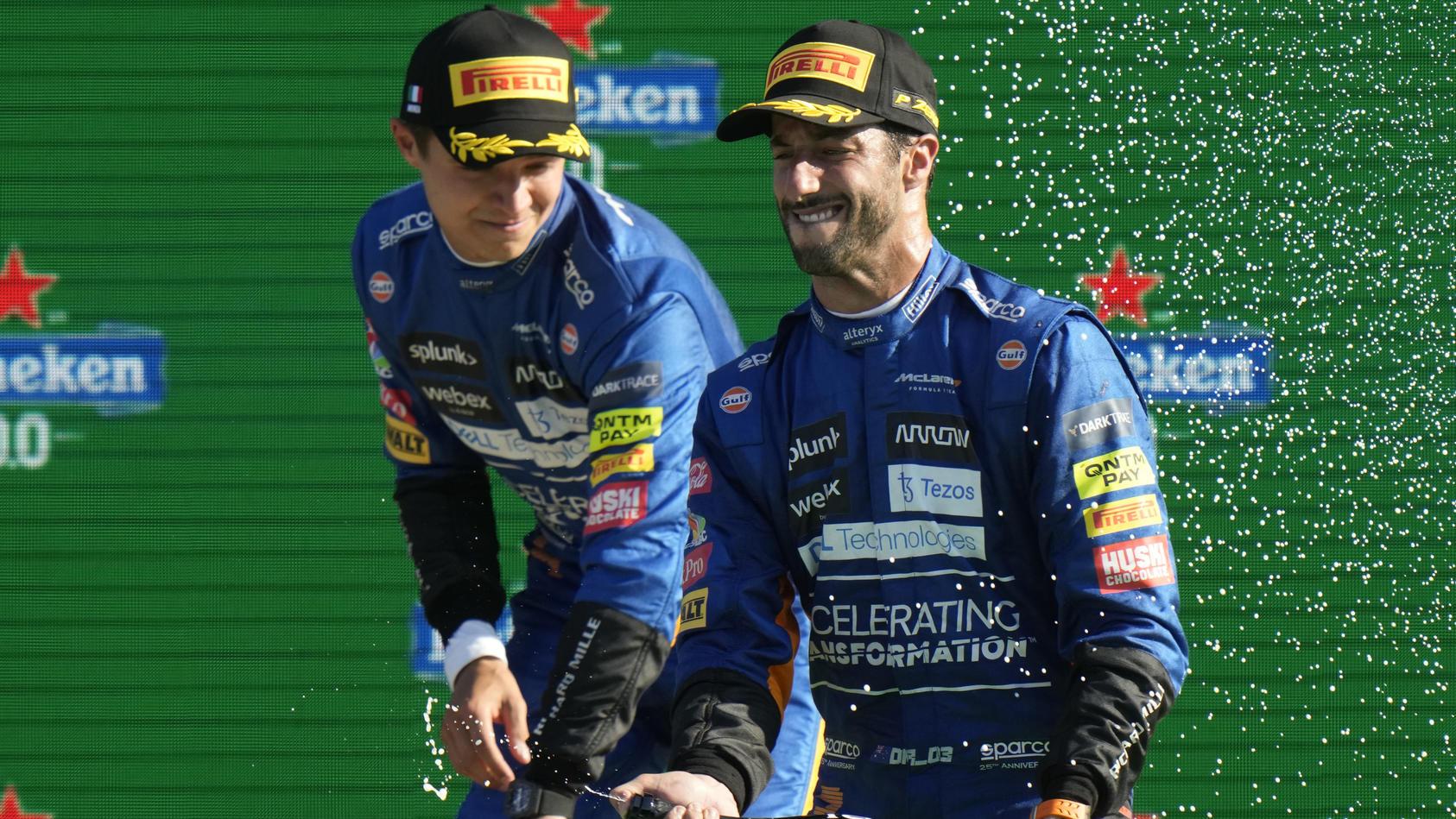 Lando Norris und Daniel Ricciardo nach dem GroßenPreis von Italien.
