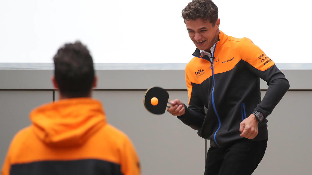 SOCHI, RUSSIA - SEPTEMBER 23, 2021: McLaren drivers Lando Norris R and Daniel Ricciardo play Table tennis, Tischtennis ahead of the 2021 Formula One Russian Grand Prix to be held in Sochi on September 24-26, 2021, at the Sochi Autodrom racing circui