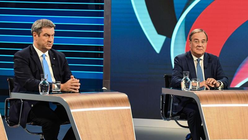 Letzte Gelegenheit zur Positionierung: CSU-Chef Markus Söder (links) und Unions-Kanzlerkandidat ArminLaschet. Foto: Tobias Schwarz/POOL/dpa
