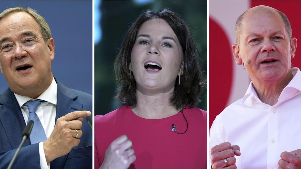 FILE - A combo images all taken in 2021 shows the chancellor top candidates, Olaf Scholz of the Social Democrats, Anna-Lena Baerbock of the Greens and Armin Laschet of the Christian Democrats, from right, during different election campaigns in German