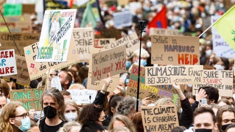 Teilnehmer der Klimastreikdemonstration ziehen mit Plakaten und Fahnen durch Hamburgs Innenstadt. Foto: Markus Scholz/dpa