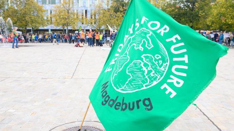 """Eine Fahne von """"Fridays For Future"""" (FFF) Magdeburg weht auf dem Domplatz. Foto: Klaus-Dietmar Gabbert/dpa-Zentralbild/ZB"""