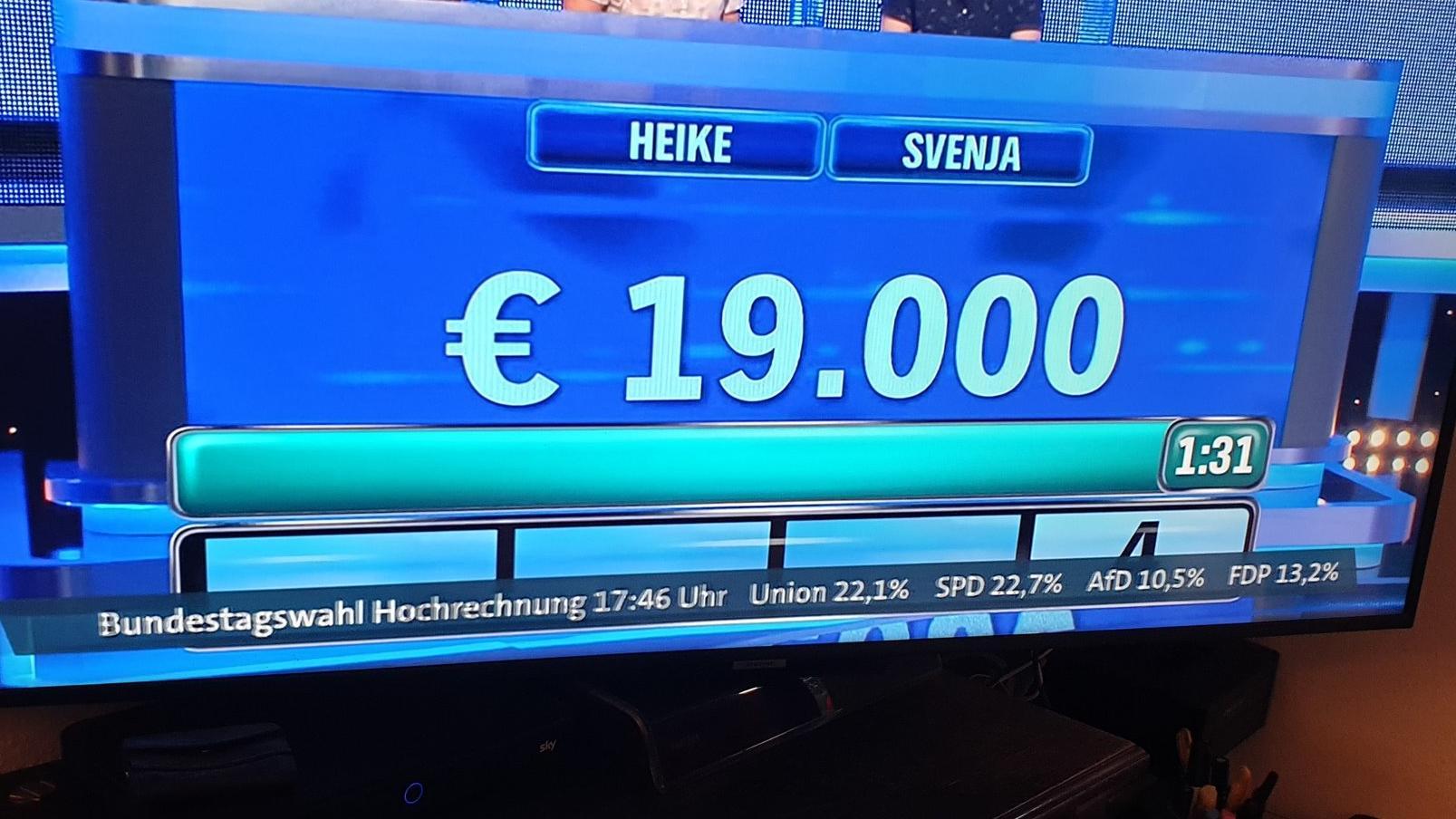 Screenshot der TV-Panne: In der ARD-Sendung war eine erste Hochrechnung für die Bundestagswahl eingeblendet