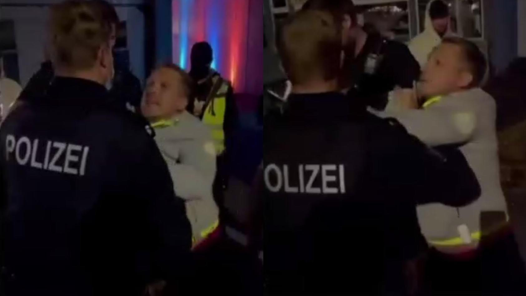 Oliver Pocher wird von Polizei abgeführt.