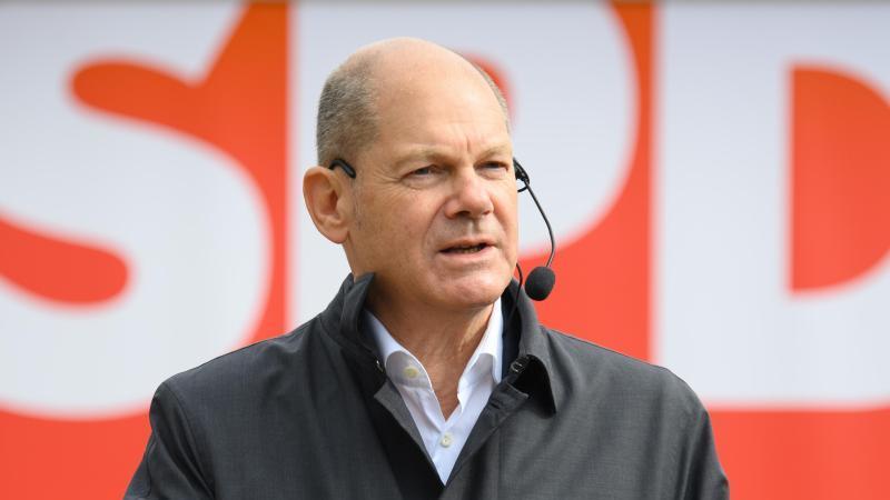 Olaf Scholz, Bundesfinanzminister und Kanzlerkandidat der SPD für die Bundestagswahl 2021, spricht. Foto: Soeren Stache/dpa-Zentralbild/dpa
