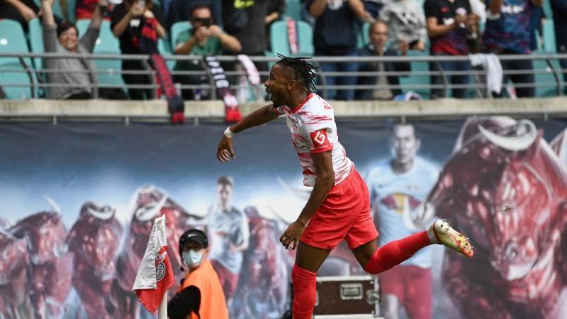 Leipzigs Christopher Nkunku traf gegen Hertha doppelt. Foto: Robert Michael/dpa-Zentralbild/dpa