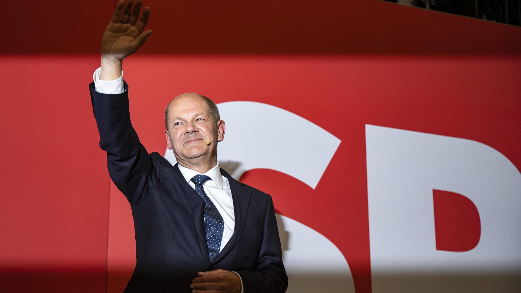 Olaf Scholz beim Wahlabend zur Bundestagswahl bei der SPD im Willy-Brandt-Haus in Berlin am 26. September 2021.