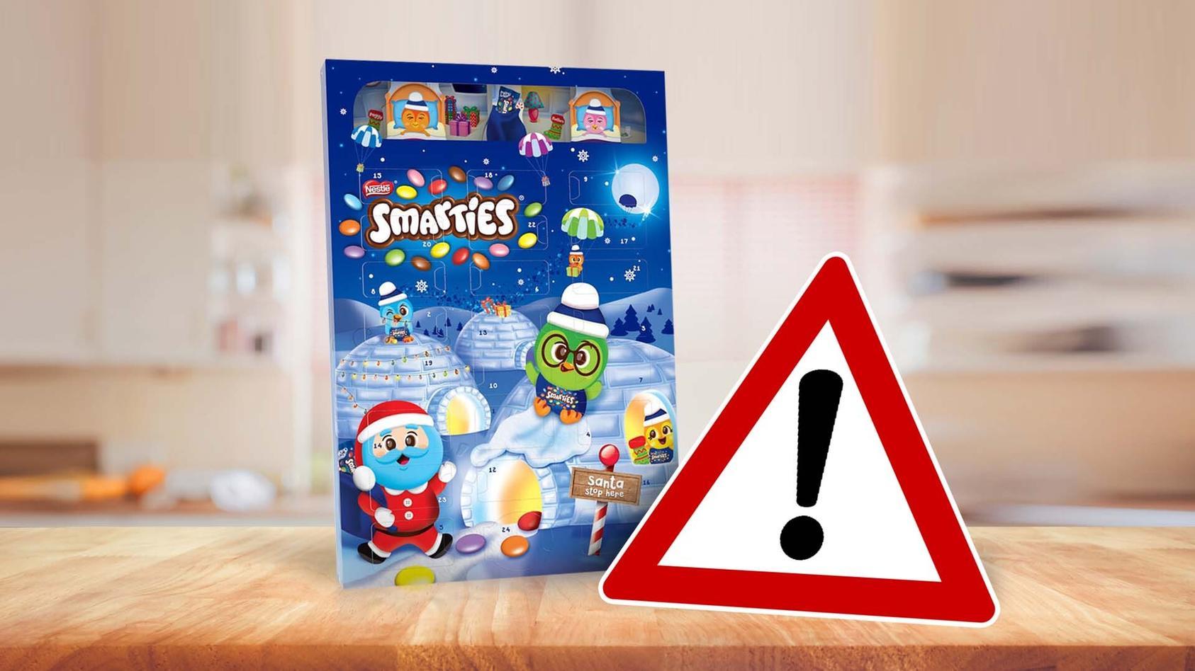 """Nestlé Deutschland weist ausdrücklich auf ein fälschlich aufgedrucktes """"Glutenfrei Logo"""" auf Smarties Adventskalender hin."""