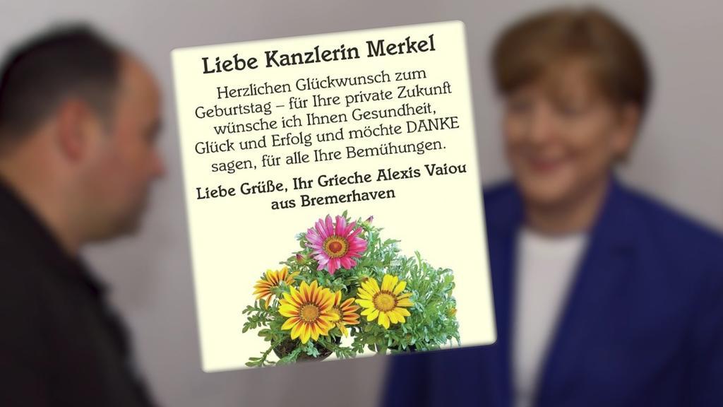 Geburtstagsanzeige für Angela Merkel von Alexios Vaiou, der sich selbst Alexis nennt.