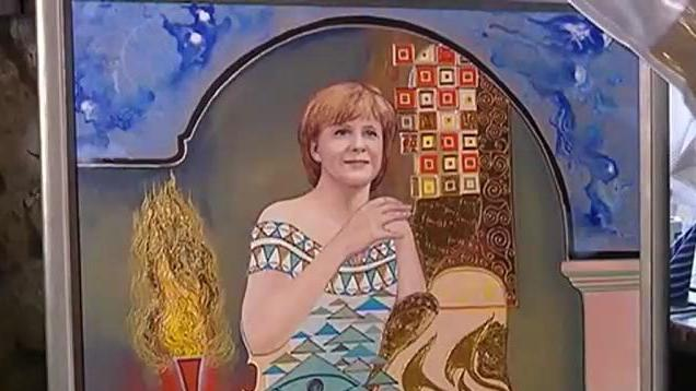 Das Portrait von Angela Merkel hat Alexis Vaiou selbst gemalt.