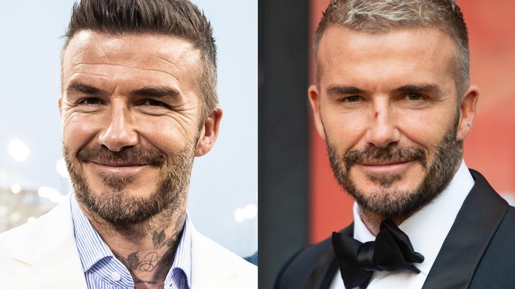 David Beckham mit Fältchen im Jahr 2019 vs. David Beckham bei einem Event 2021.