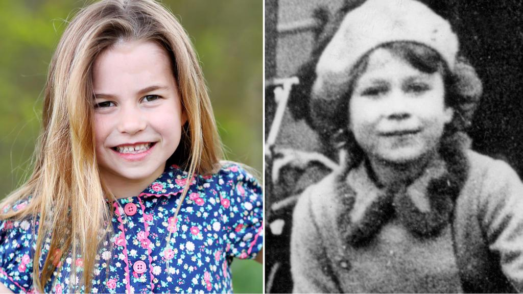 Prinzessin Charlotte im Mai 2021 und Königin Elisabeth II. am 1. November 1936.