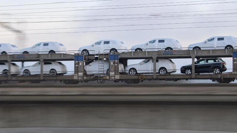 Ein Güterzug mit Neuwagen fährt über die Marienbrücke in Dresden. Foto: Robert Michael/dpa