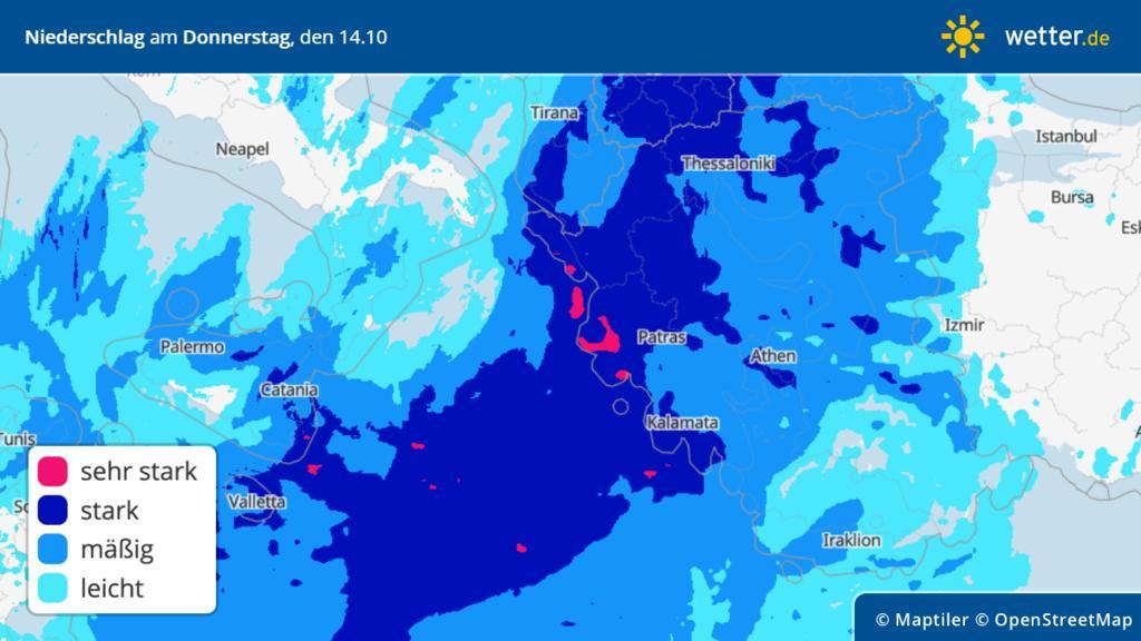 Prognose: Regen für die Türkei und Griechenland am Donnerstag, 14.10.2021
